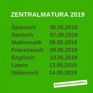 Zentralmatura Österreich Termine 2019